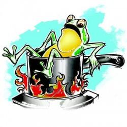 Chú ếch trong nước nóng